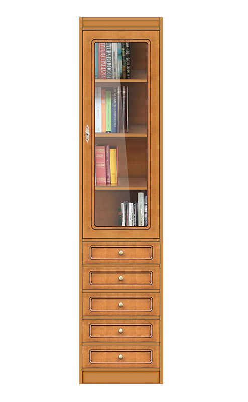 Bibliothèque haute porte vitrée et tiroirs