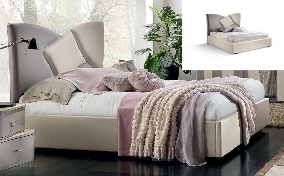 Lit deux places tête de lit rembourrée - Collection Gioia