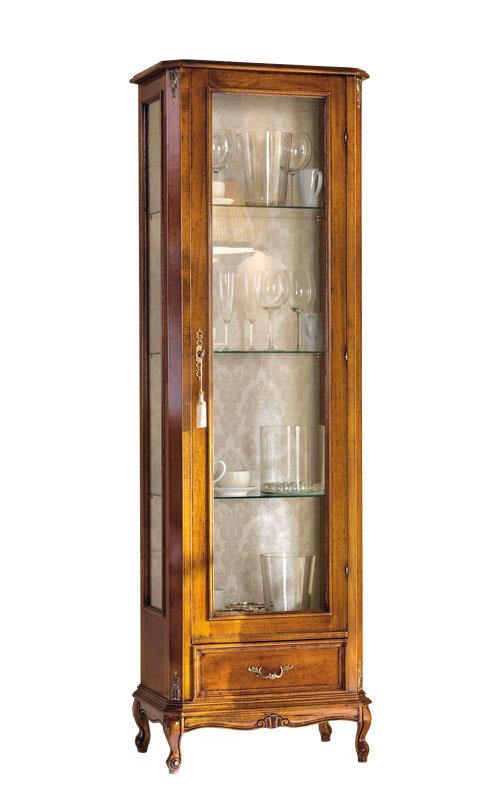 Vitrine haute classique une porte avec tiroir