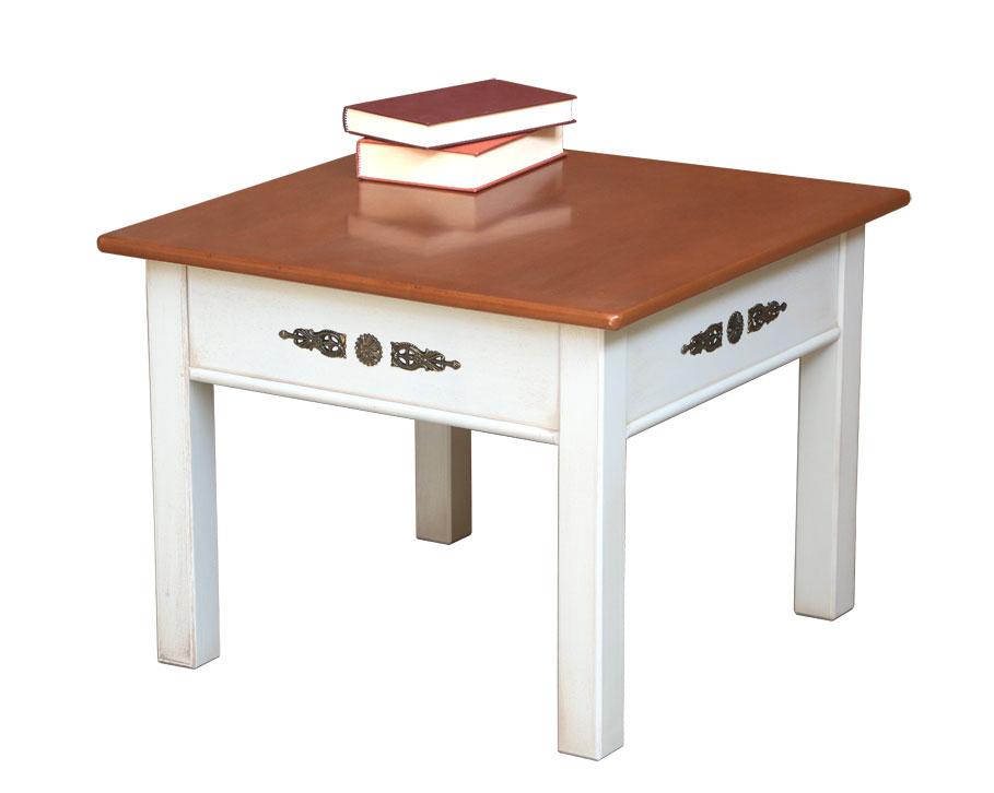 Table de salon carrée finition bicolore