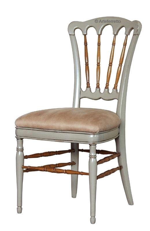 Chaise bicolore en bois tourné