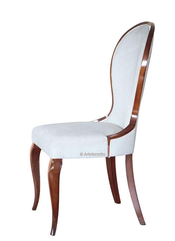 Chaise élégante bois et tissu Sablier