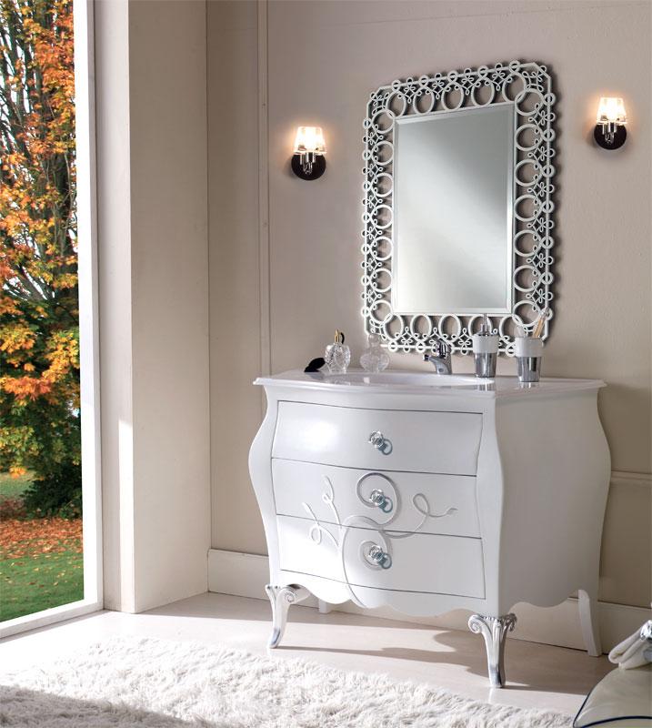 Meuble vasque salle de bain détails argent