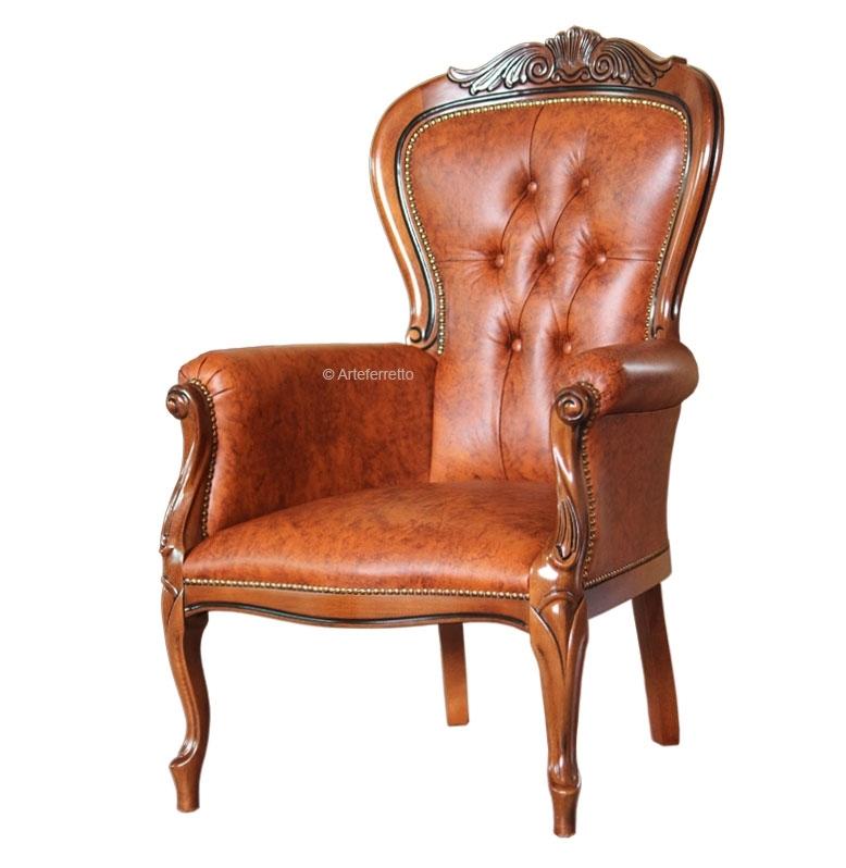 Fauteuil classique bois et vrai cuir capitonné