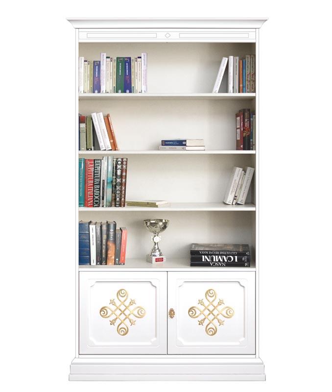 Bücherregal aus Holz mit goldenen Friesen