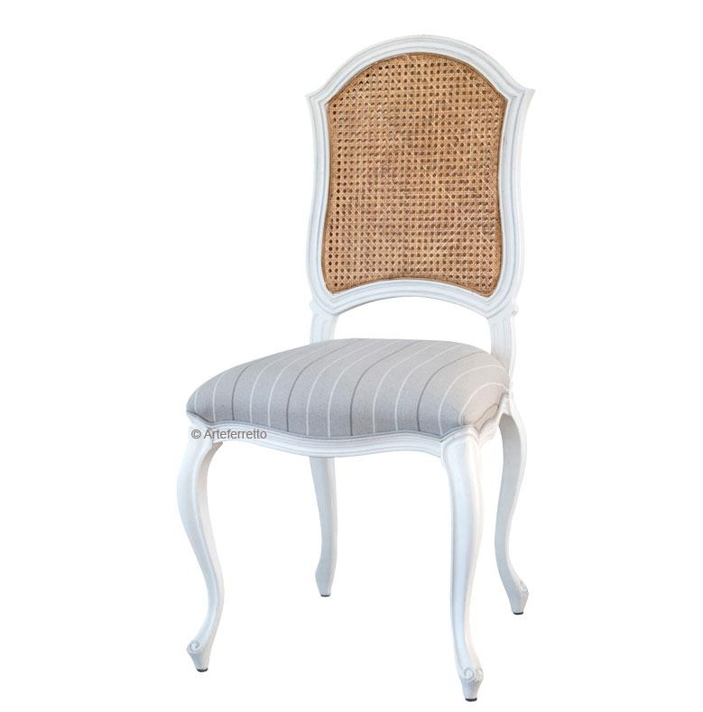 Chaise bois et tissu dossier en paille de Vienne