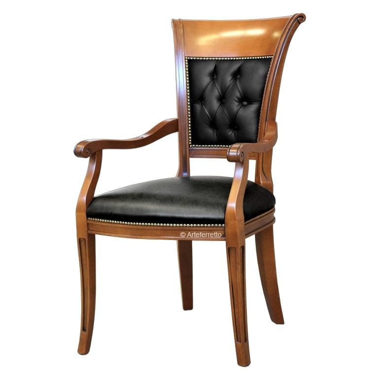 Stuhl Sessel mit Armlehne und Knöpfen