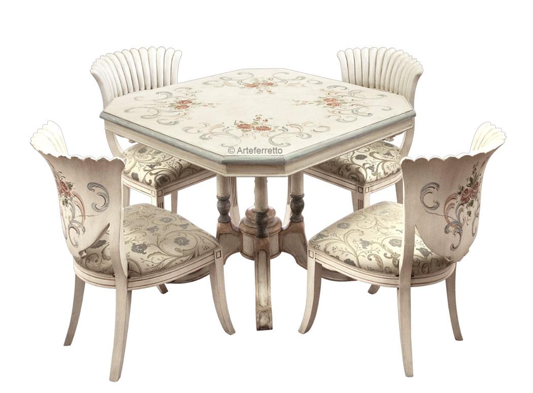 Essgruppe Tisch und 4 Stühle - Einzelstück