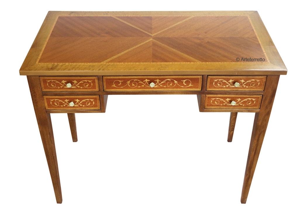Schreibtisch mit Intarsien 5 Schubladen