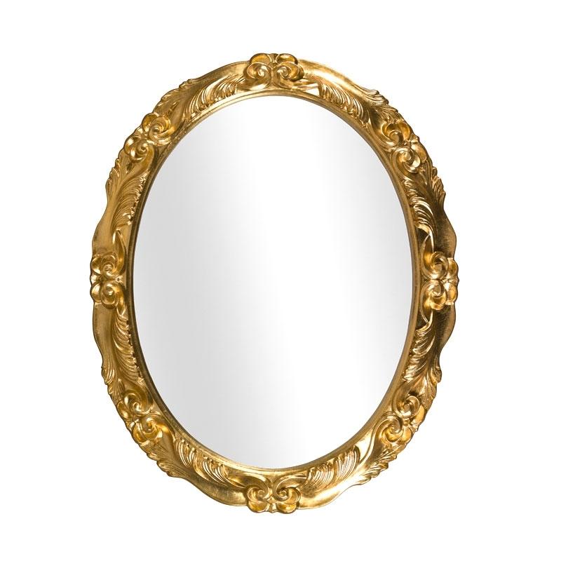 Spiegel Oval Blattgold mit Dekorierung