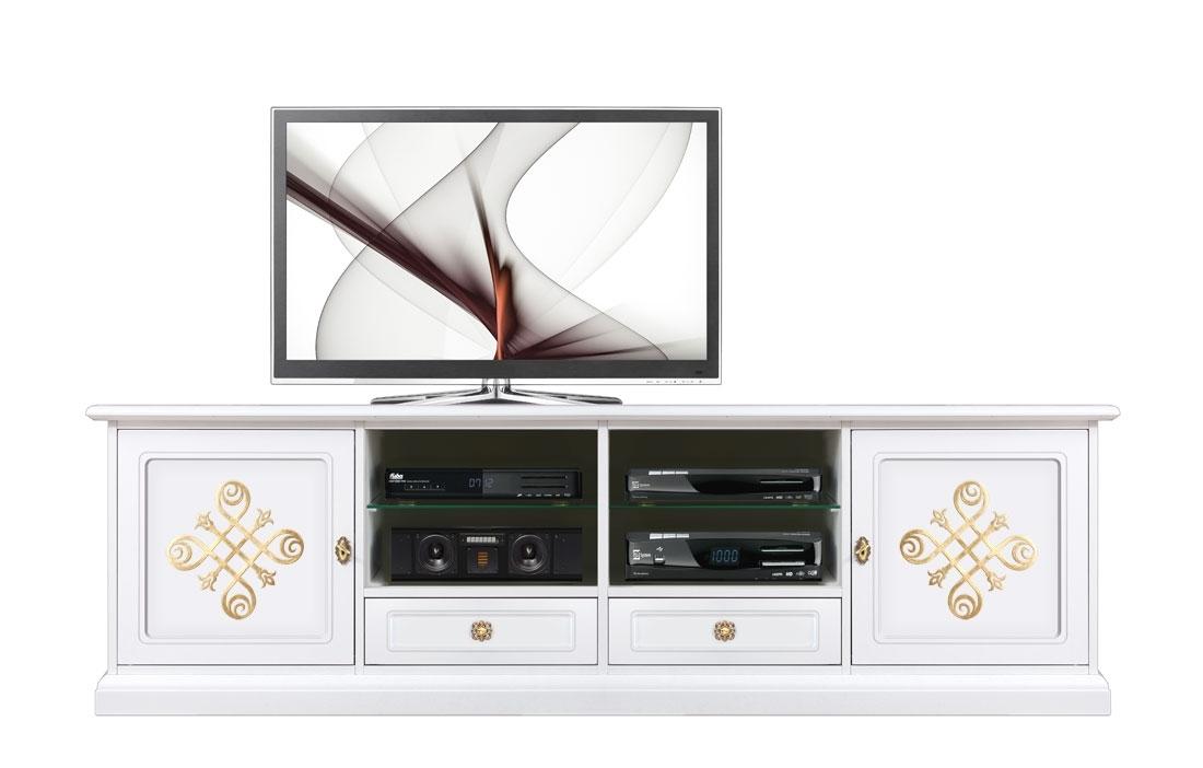 Lowboard TV Weiß Gold Gold Light