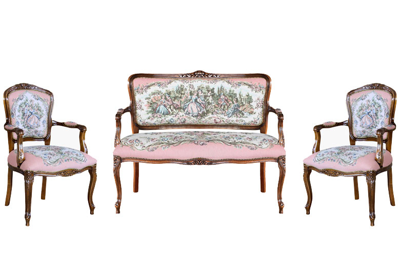 Ensemble canapé et fauteuils Roméo et Juliette