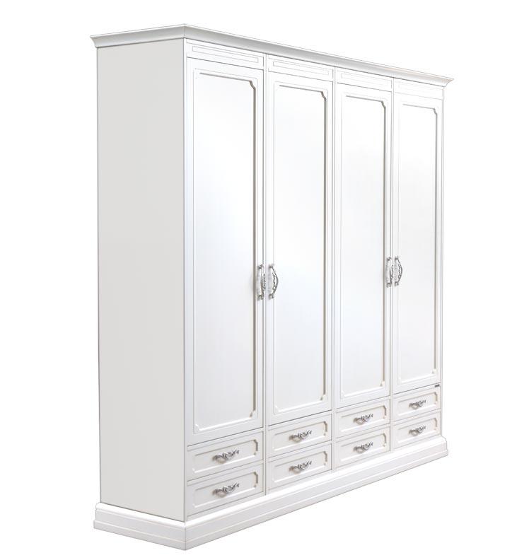 Weißer Schrank 4 Türen 8 Schubfächer