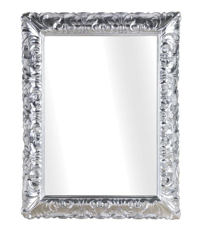 Geschmückter Spiegel in Silberblatt Wavy