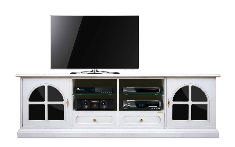 Meuble banc TV 200 cm noir et blanc