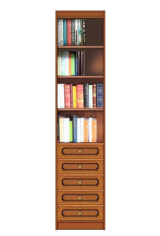 Meuble bibliothèque colonne 5 tiroirs
