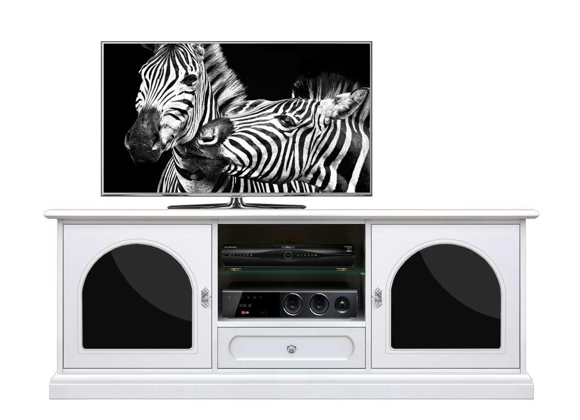 TV-Anrichte Weiß und Schwarz Plex & White