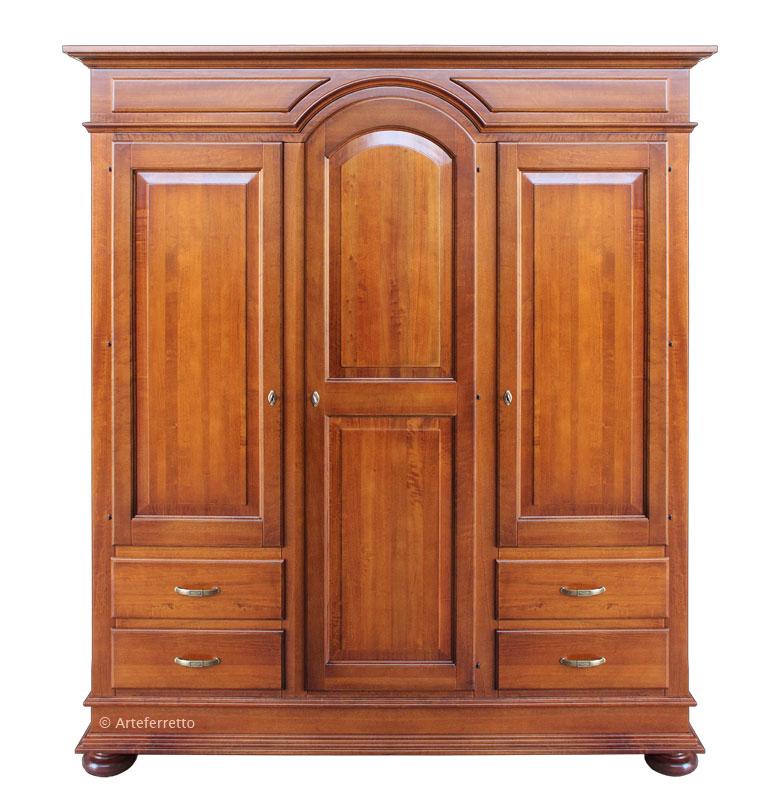 Schrank aus Massivholz 3 Türen 4 Schubladen