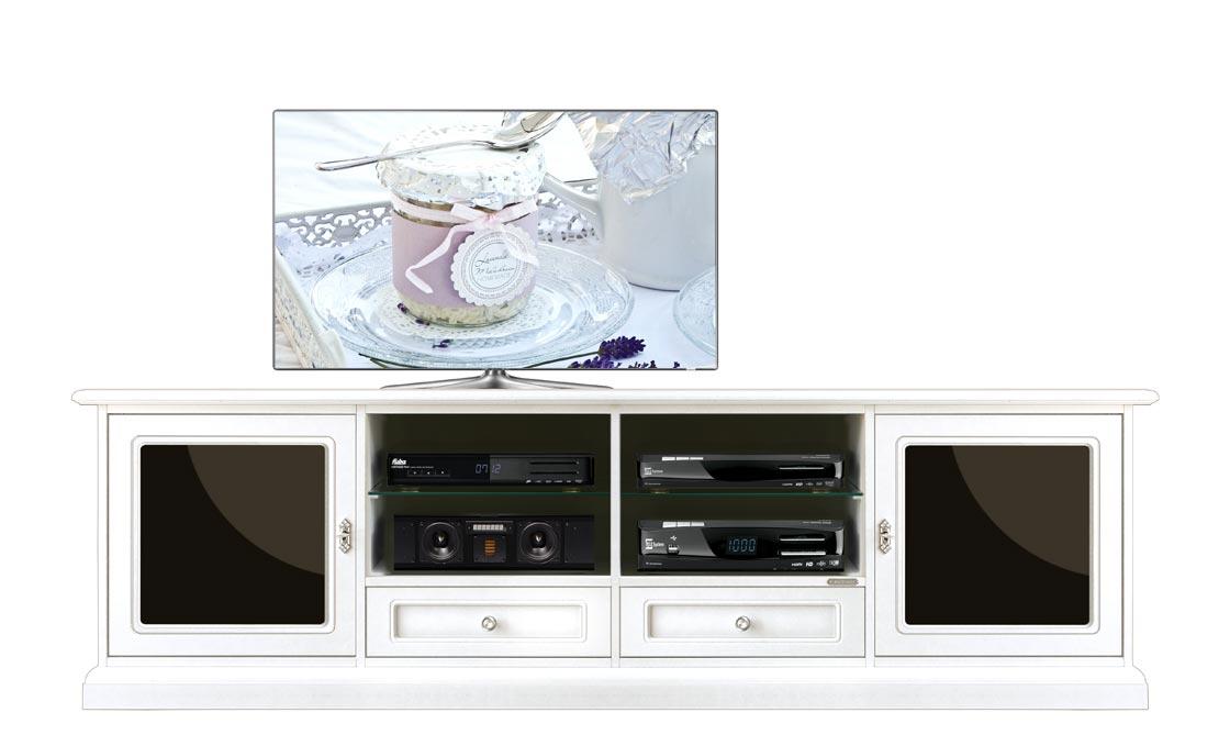 TV-Möbel Weiß und Schwarze Gläser Black&White