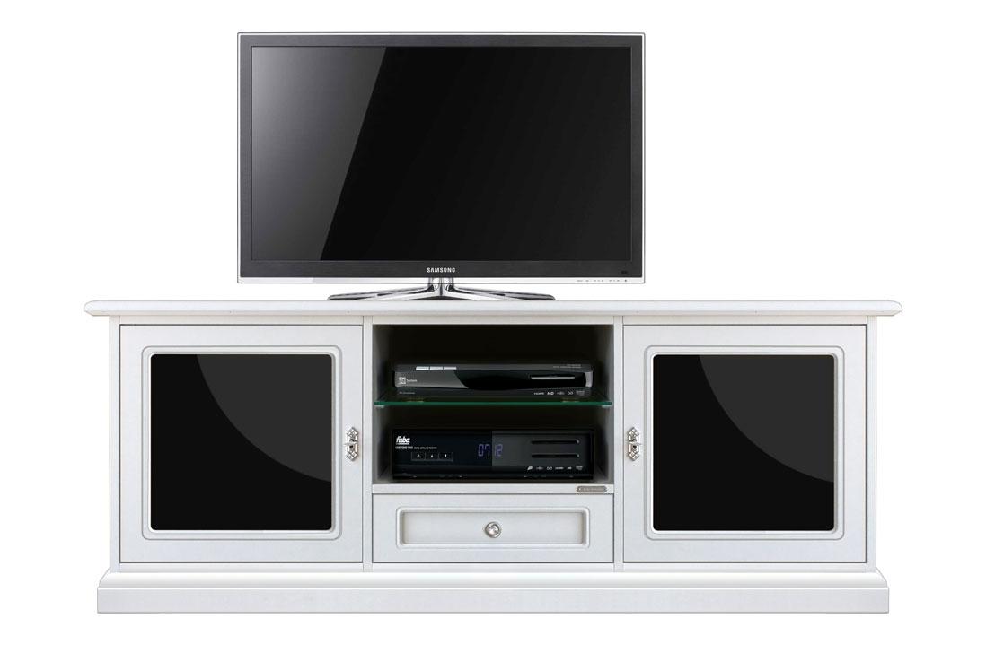 Meuble TV 153 cm blanc et plexiglass noir