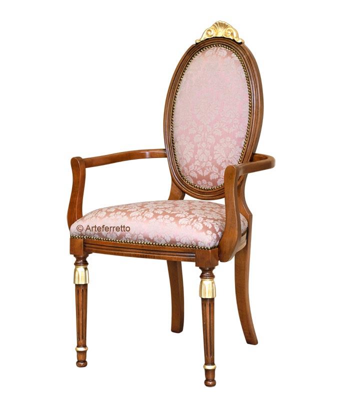 Chaise ovale avec accoudoirs