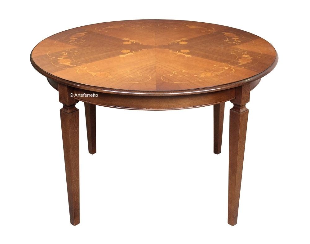 Table ronde avec marqueterie florale