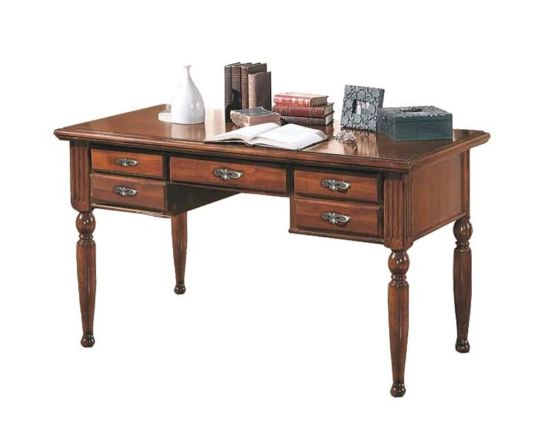 Bureau 5 tiroirs en bois classique
