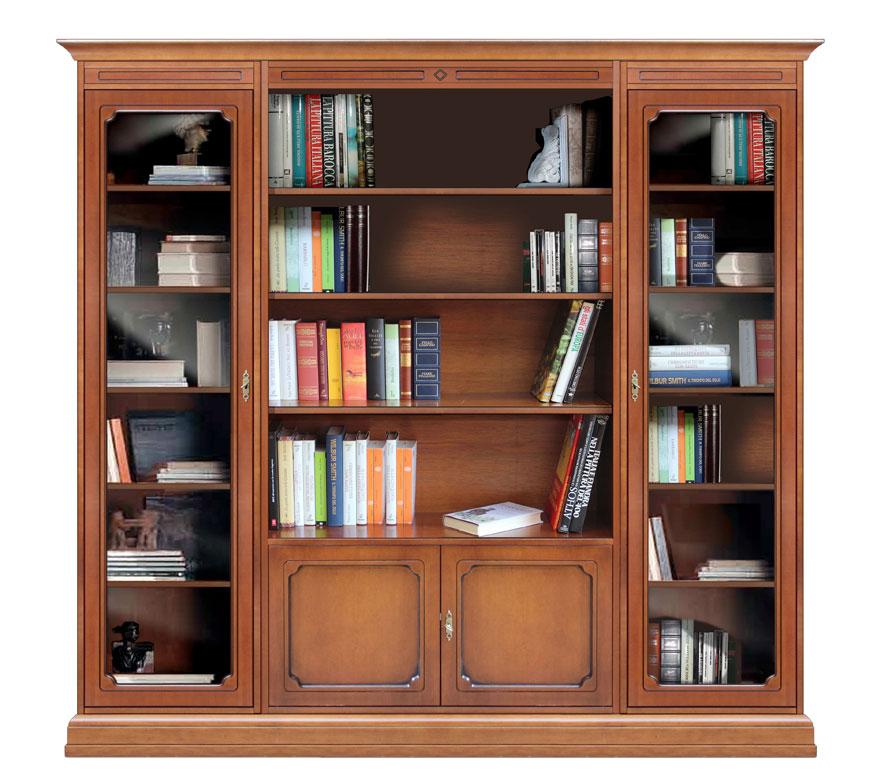 Bibliothèque composition modulaire portes vitrées