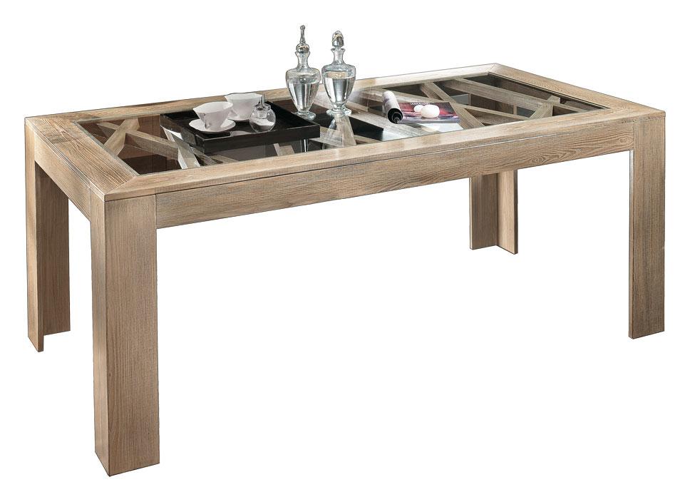 Eschenholz Tisch Glasplatte