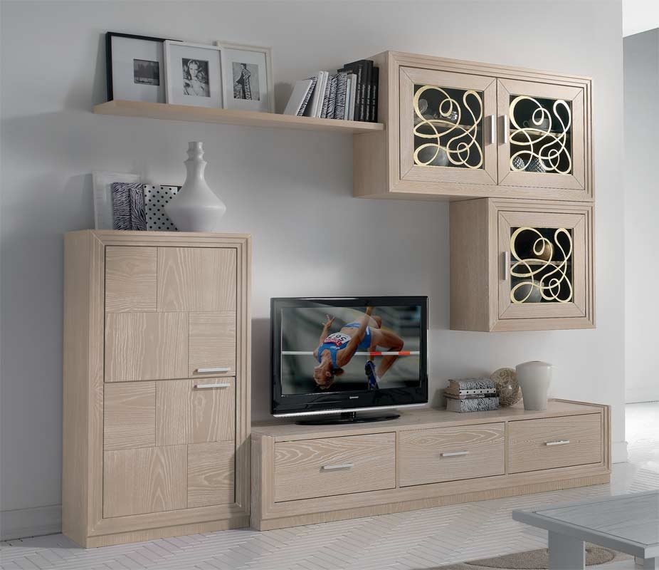 Meuble TV mural pour salon en bois naturel Nice