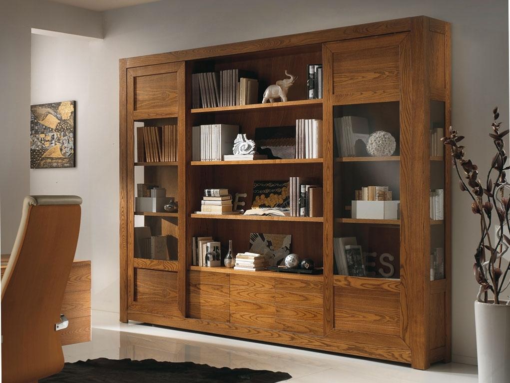 Bücherregal mit Schiebetüren aus Eschenholz