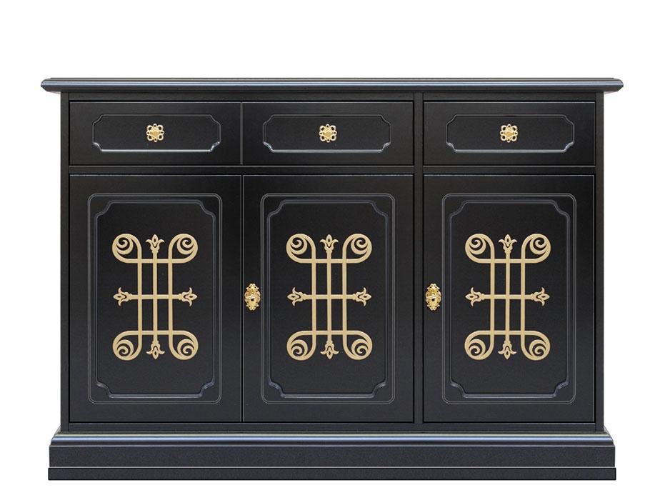 Meuble buffet noir et or 3 portes