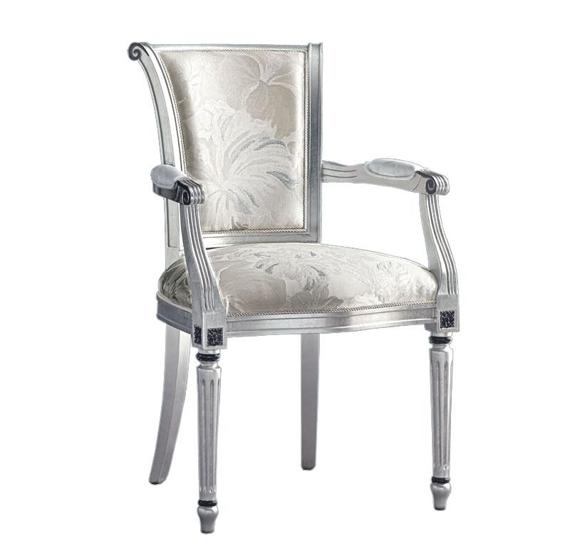 Chaise avec accoudoirs et pieds cannelés