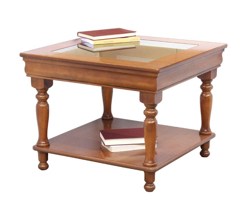 Table basse plateau en verre style Louis Philippe