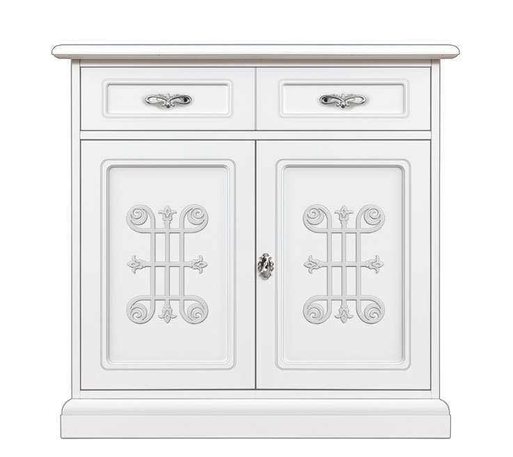 Meuble buffet 2 portes laqué Collection You Silver