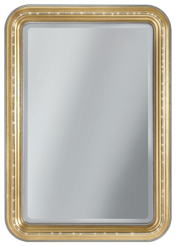 Miroir rectangulaire angles arrondis gold Swarovski