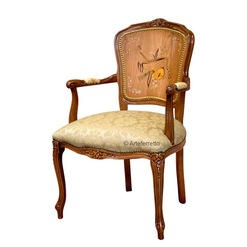 Fauteuil classique marqueté style Louis XV