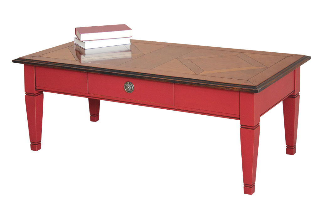 Table basse bicolore rouge et merisier
