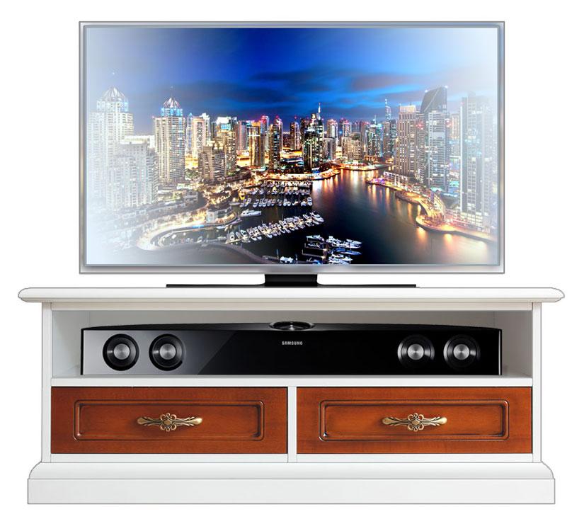 Meuble Tv bas bicolore pour la barre de son