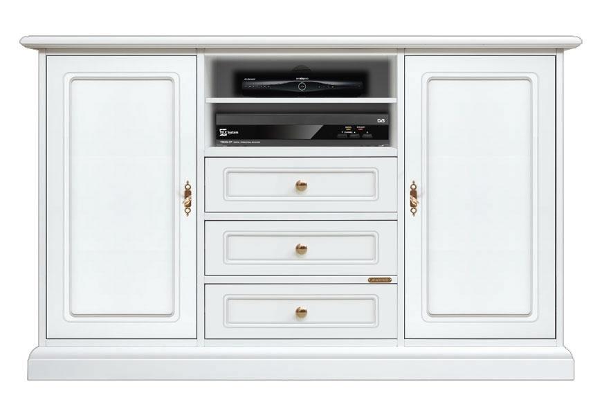 TV-Schrank Hoch mit Türen Weiß Farbe