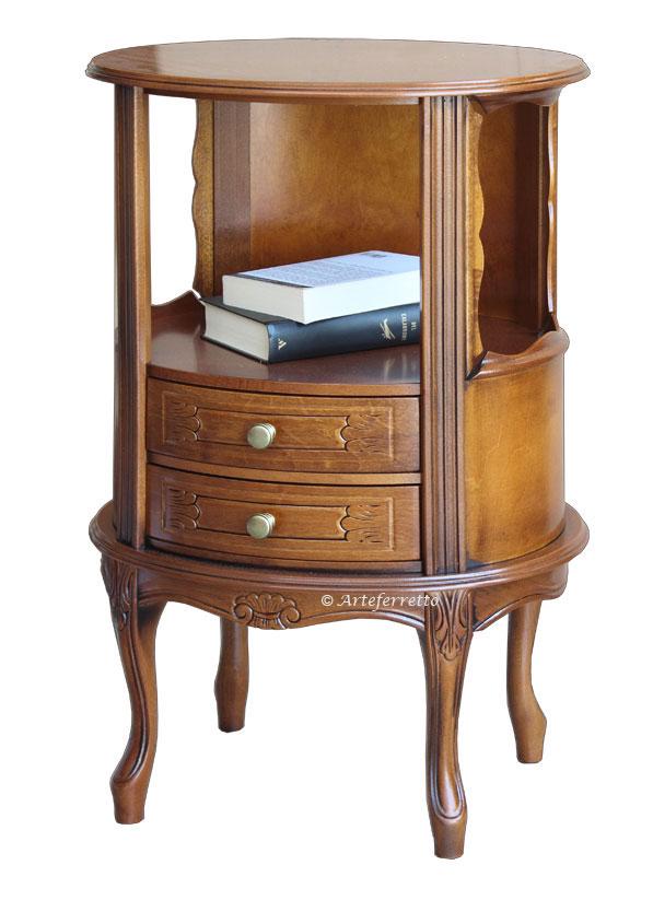 Table d'appoint téléphone ovale 2 tiroirs