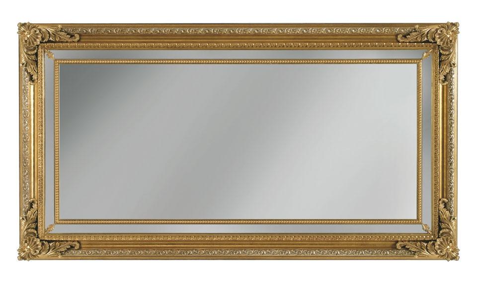 Miroir mural rectangulaire ornements en bois