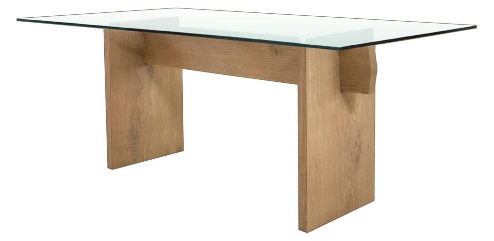 Table en chêne massif et dessus en cristal