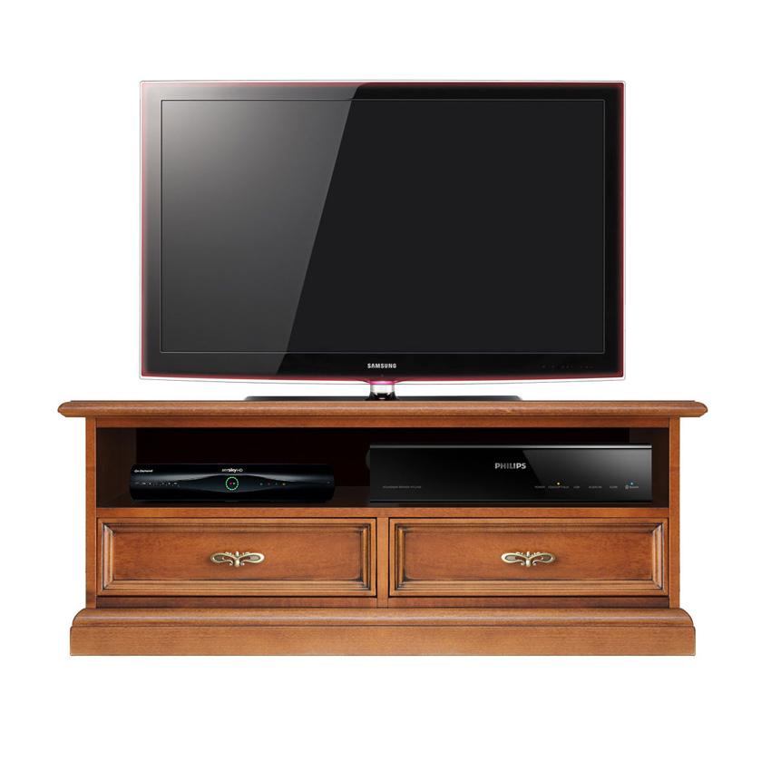 Meuble Tv barre de son 2 tiroirs classique