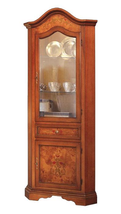 Eckvitrine mit Intarsie und Glastür