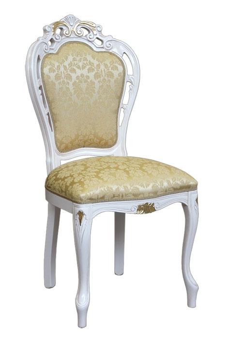Stuhl mit Schnitzarbeit weiß Gold