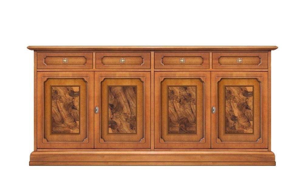 Buffet ronce de noyer 4 portes et 4 tiroirs
