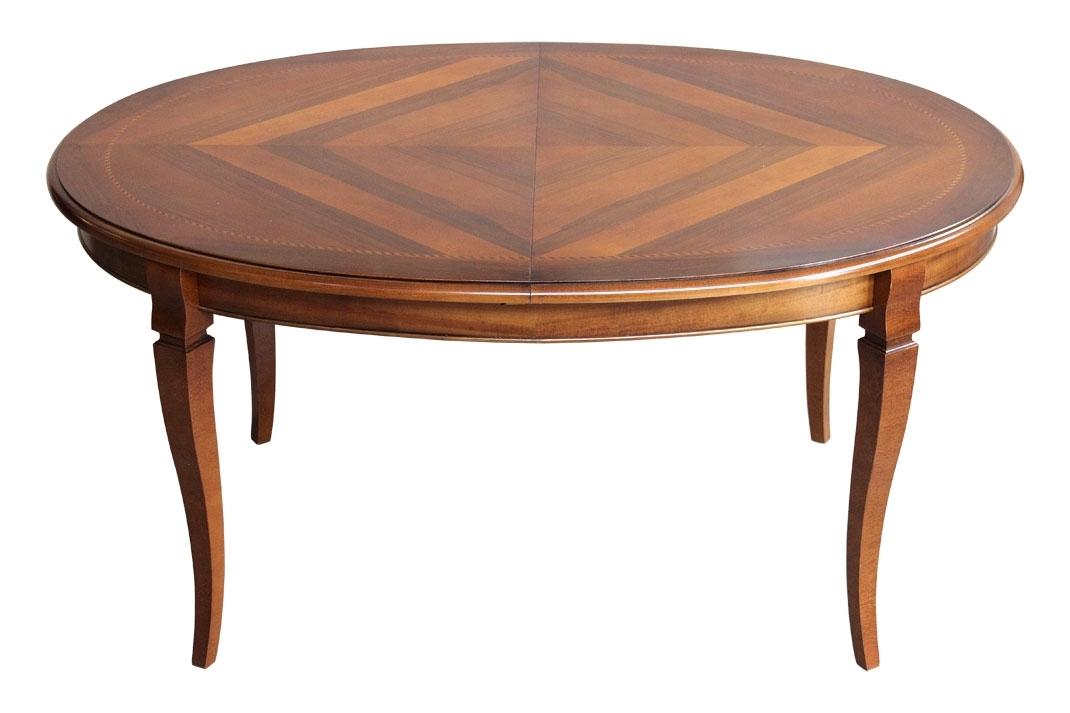 Table ovale marquetée à rallonge 160-210 cm