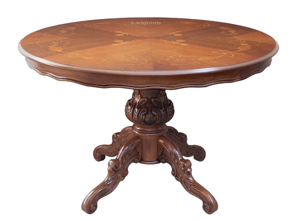 Table ronde marquetée 120 cm diamètre