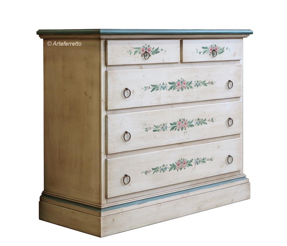 Commode en bois 5 tiroirs Ancien Décor